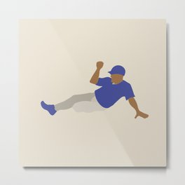 Baseball Player in Blue Sliding into Base, Flat Graphic Metal Print
