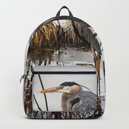 Heron pose along the bank Backpack
