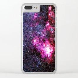Fuchsia Purple Blue Tarantula Nebula Clear iPhone Case