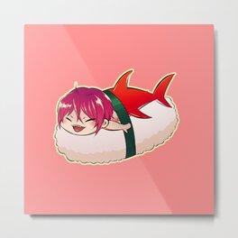 Chibi Shark Sushi Metal Print