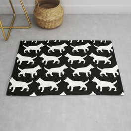 Black with white dogs pattern  Rug