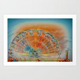 Pacific Park Ferris Wheel - Sunset thru the Haze Art Print