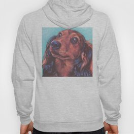 The long haired Dachshund from an original painting by L.A.Shepard Hoody