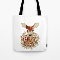 fawn Tote Bags featuring Fawn  by craftberrybush