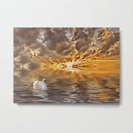 Swan at Sunrise Metal Print