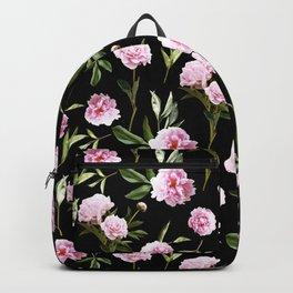 Peonies in Her Dreams - black Backpack