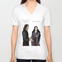 aragorn V-neck T-shirts featuring Quarrel by wolfanita