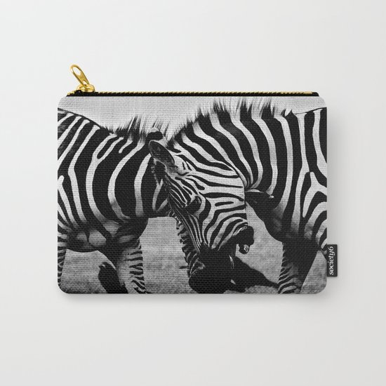 Let's Fight! // Wildlife Zebra Black Adn White Photography #society6 #art #prints Carry-All Pouch