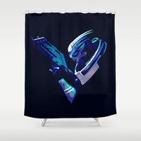 mass effect Shower Curtains featuring Mass Effect: Garrus Vakarian by Fiona Ng