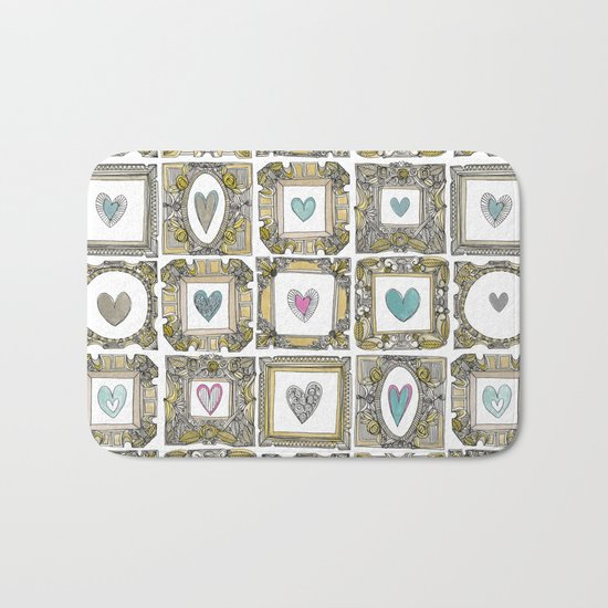 love heart frames Bath Mat