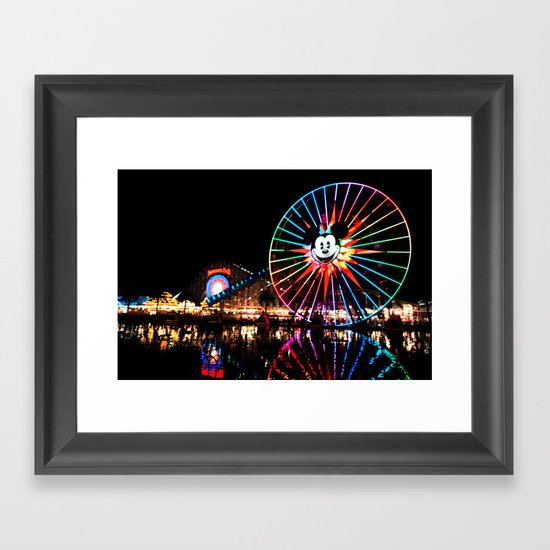 Paradise Pier at Night Framed Art Print