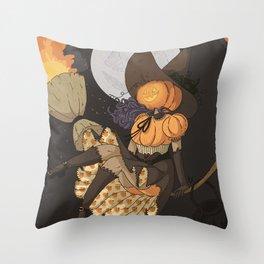 Pumpkin Witch Throw Pillow