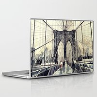 brooklyn bridge Laptop & iPad Skins featuring Brooklyn Bridge by takmaj