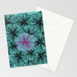 Teal Dancing With Petunias Stationery Cards