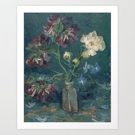 Vincent Van Gogh - Small Bottle with Peonies and Blue Delphiniums Art Print