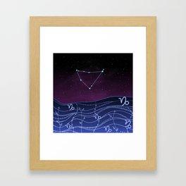 Capricorn Zodiac Constellation Design Framed Art Print