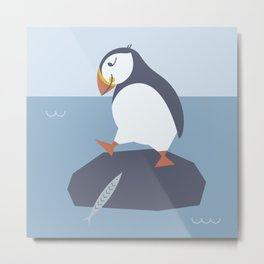 happy puffin & fish - life is better with friends Metal Print