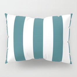 Ming blue - solid color - white vertical lines pattern Pillow Sham