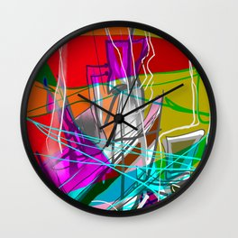 Orange and green abstract Wall Clock