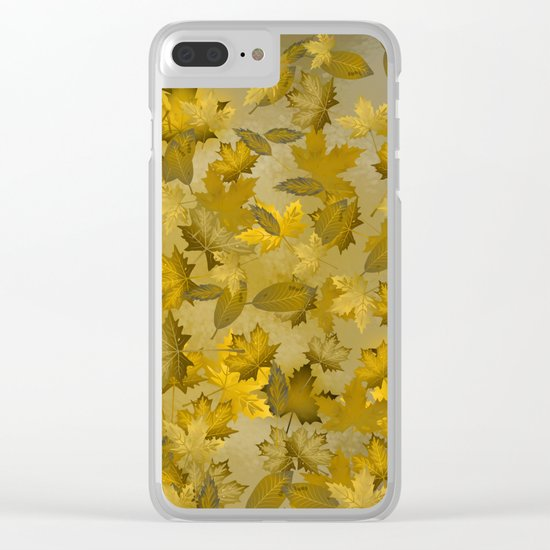 Golden Autumn Leaves Clear iPhone Case