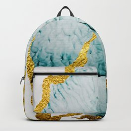 Abstract seamless pattern with tropical leaves. Hand draw texture. Art and Gold illustration Backpack