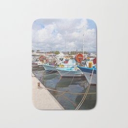 fishing boats in paphos harbour Bath Mat