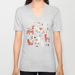 Llamas and cactus in a pot on green Unisex V-Neck