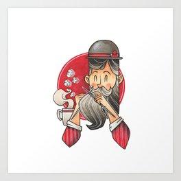 Knitting Bearded Gentleman Art Print