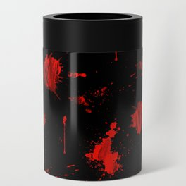 Red Paint / Blood splatter on black Can Cooler