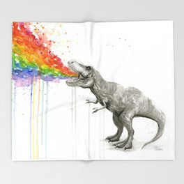 T-Rex Dinosaur Rainbow Puke Taste the Rainbow Watercolor Throw Blanket