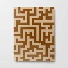 Tan Brown and Chocolate Brown Labyrinth Metal Print