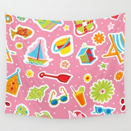 Summer Fun Pink Wall Tapestry