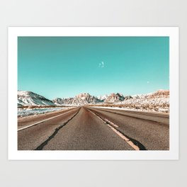 Vintage Desert Road // Winter in the Mojave of Las Vegas at Red Rock Canyon National Park Art Print