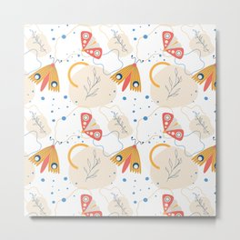 Modern Abstract Yellow and Pink Butterfly Moth Colorful Summer Spring Pattern Design Metal Print