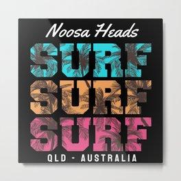 Noosa Heads Surfing Metal Print