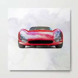 Vintage Supercar Watercolor Metal Print