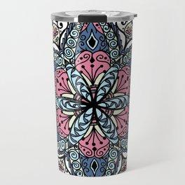 Mandala pink and blue Travel Mug