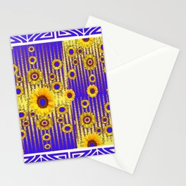 ART DECO GOLDEN SUNFLOWERS BLUE & WHITE ABSTRACT Stationery Cards