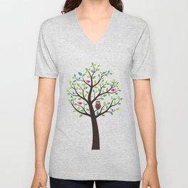 The bird tree guardian Unisex V-Neck