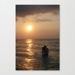 Lovers Kiss at Sunrise Canvas Print