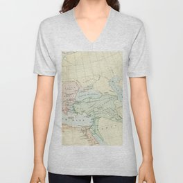 Old Map of The Roman Empire Unisex V-Neck