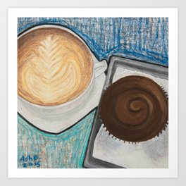 Cupcake and Coffee Art Print