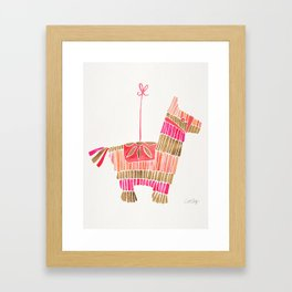 Mexican Donkey Piñata – Pink & Rose Gold Palette Framed Art Print