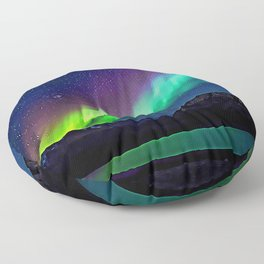 A Spectacle Of Polar Lights   Oil Painting Floor Pillow