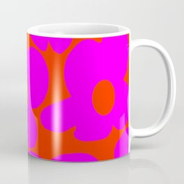 Pink Retro Flowers Orange Red Background #decor #society6 #buyart Coffee Mug