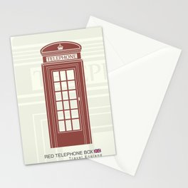 figure of a red telephone booth in England Stationery Cards