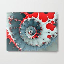 Deep Blue and Red Fractal Swirl Metal Print