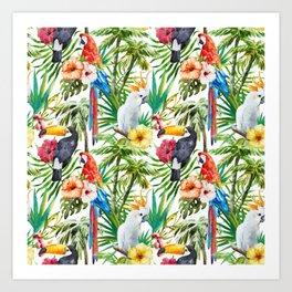 Exotic Birds pattern Art Print
