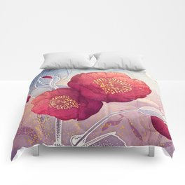 Christmas Roses :: Red Petals, Frosted Leaves Comforters