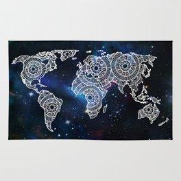 Galaxy Mandala World Map Rug